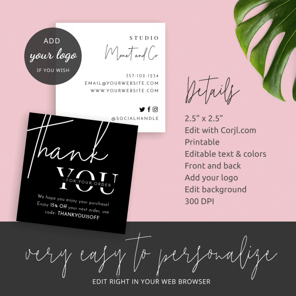 minimal business small thank you cards