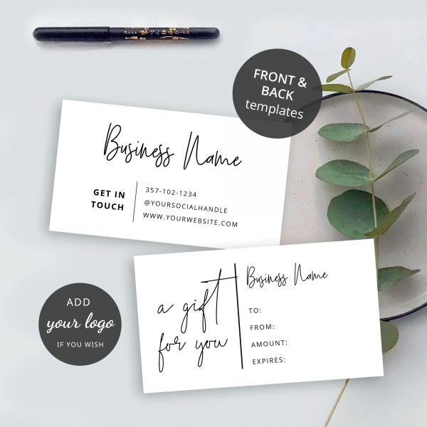 front and back gift voucher template