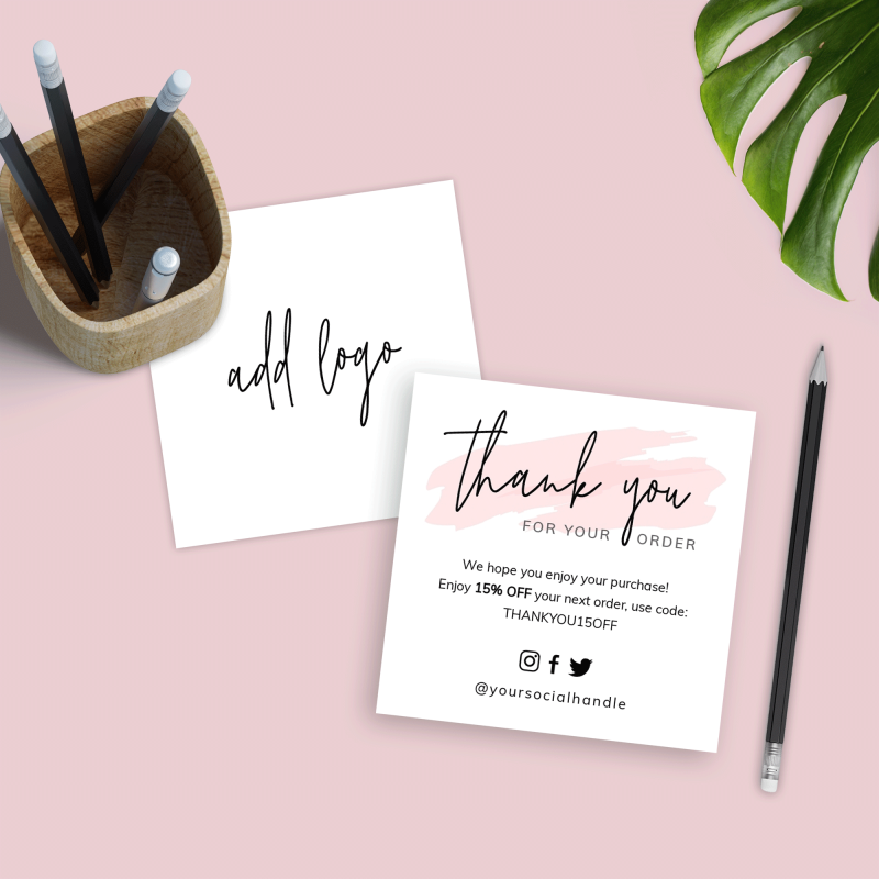 pink thank you for order card