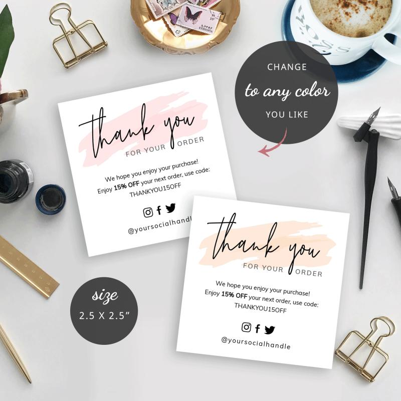 mini thank you card watercolor templates