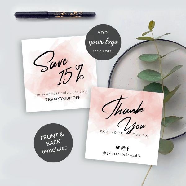 editable business thank you card