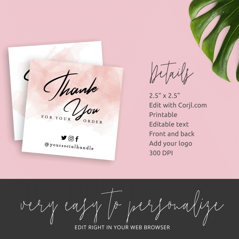 watercolour thank you for purchase cards