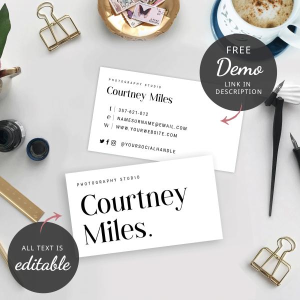 simplistic business cards b&w