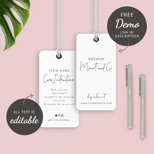 minimalist white custom hang tags
