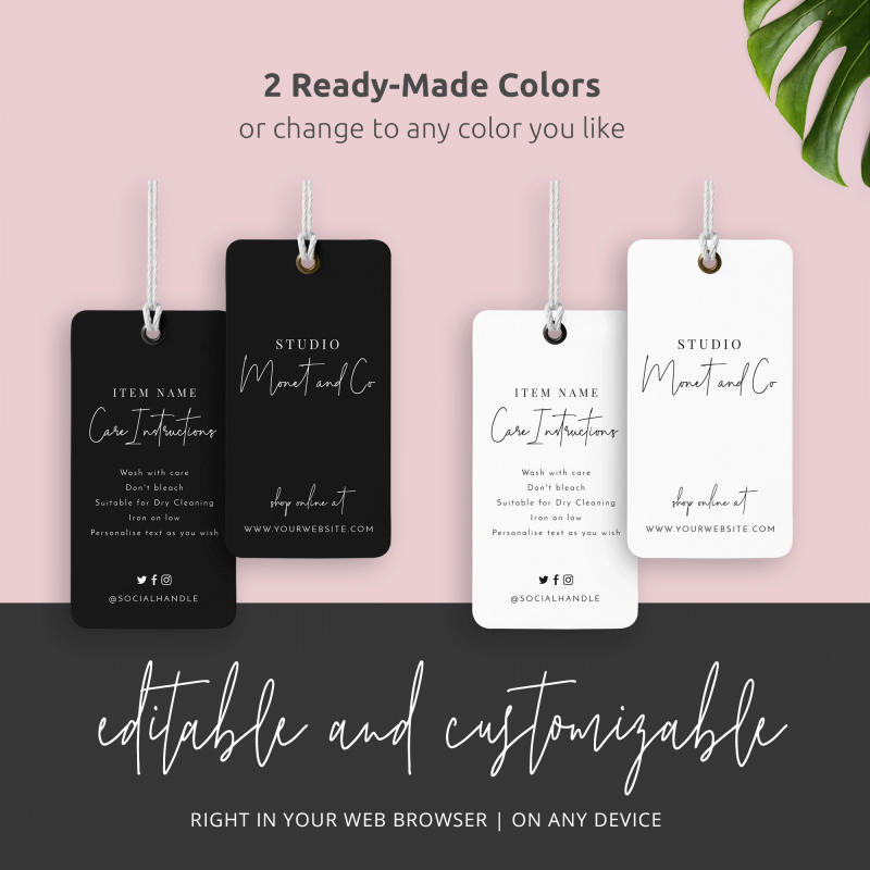 black and white tag template