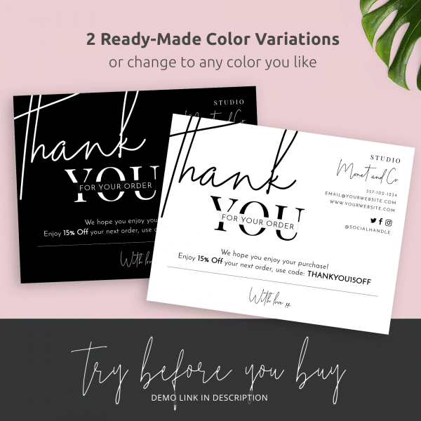 black and white thank you for order template