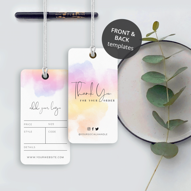 paint watercolour swing tags design