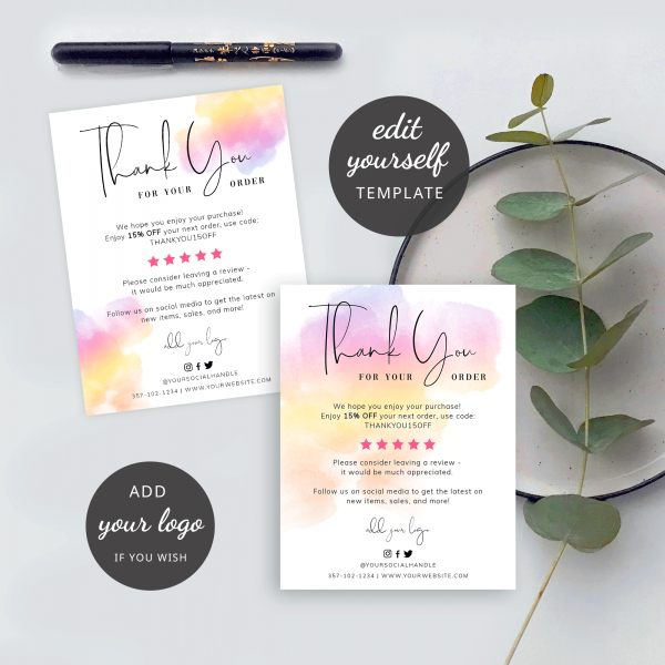 gradient colors thank you note