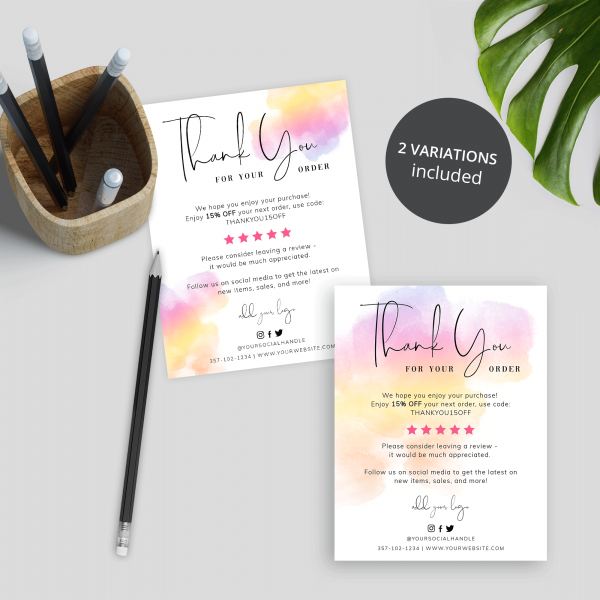brush paint background business thank you card
