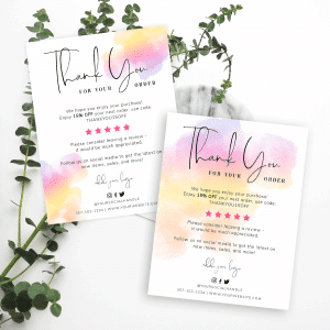 colourful watercolor thank you card