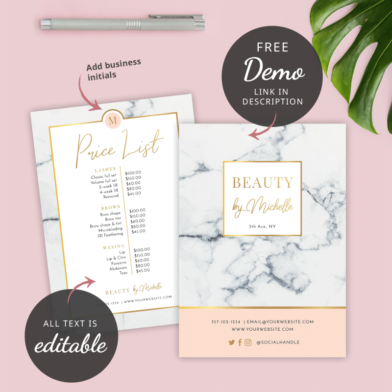 marble and gold price list design