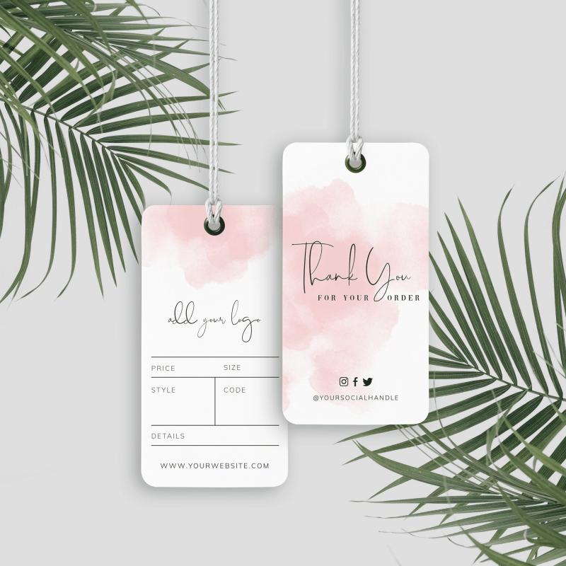 pink watercolour hang tags