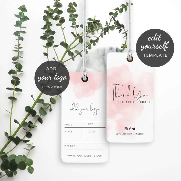 watercolour effect hanging tags