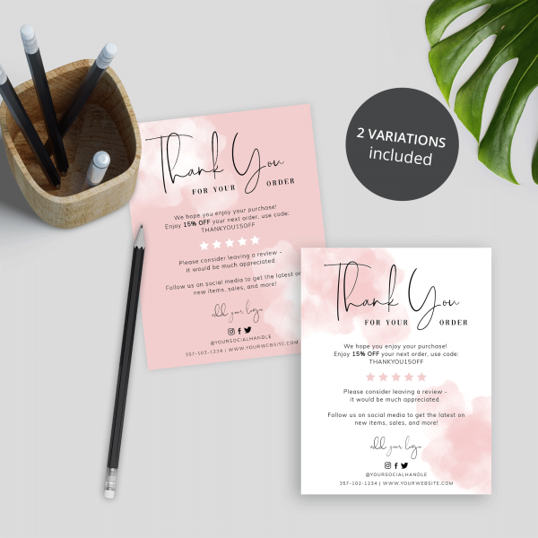 brush effect thank you for shopping cards