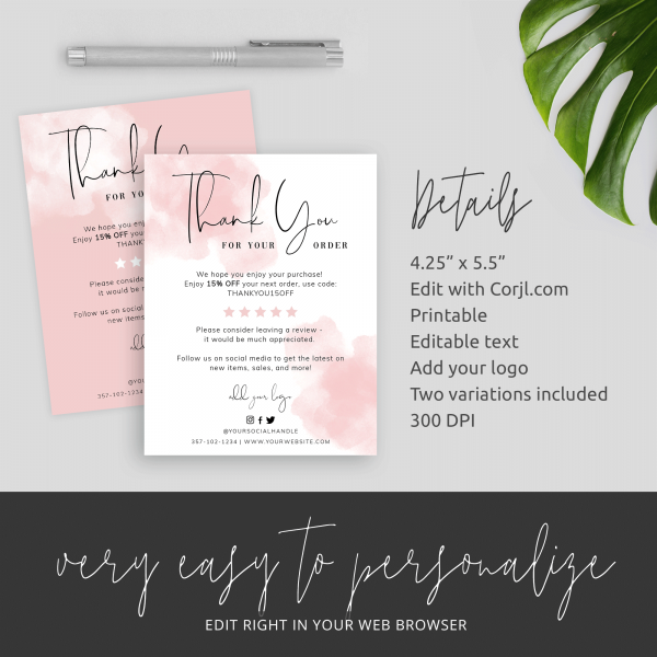 pink ink splash thank you for order card template