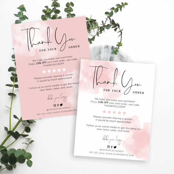 pink watercolour thank you for order cards