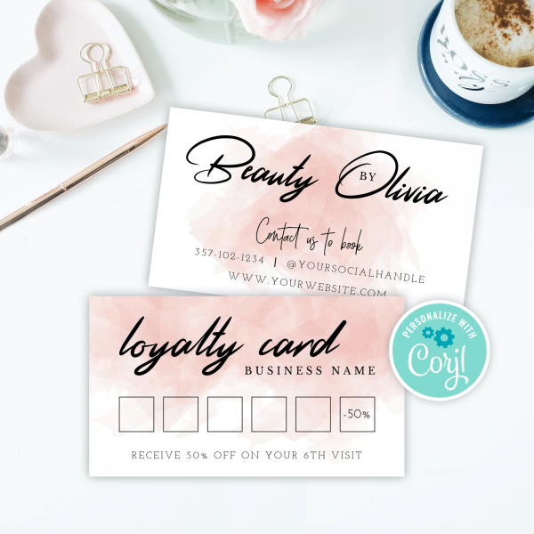 watercolour loyalty cards
