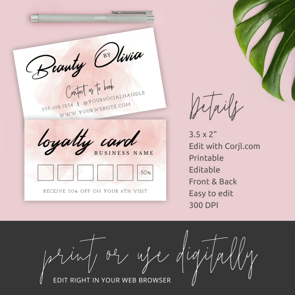 beauty salon stamp cards
