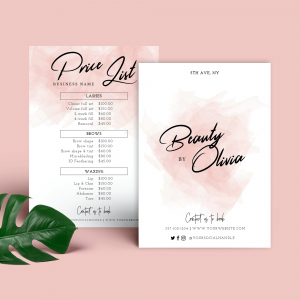 pink watercolour price list template