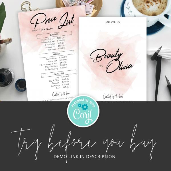 watercolor price menu design