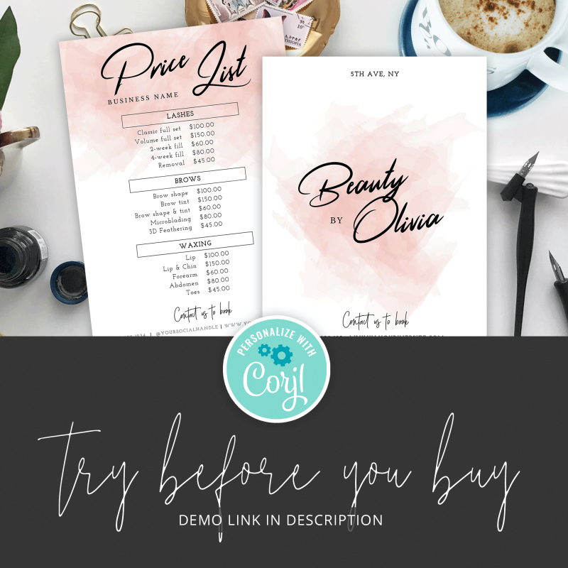 watercolor price menu design