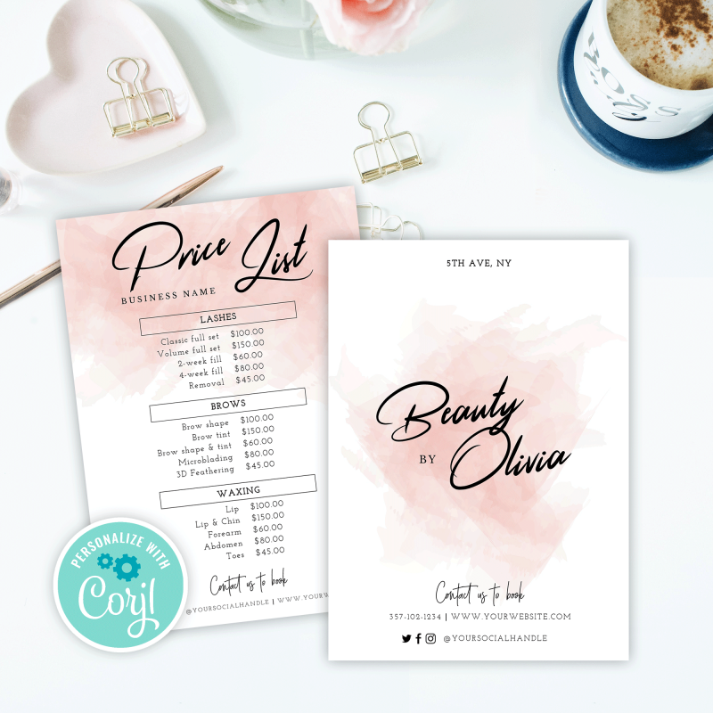 beauty price list design
