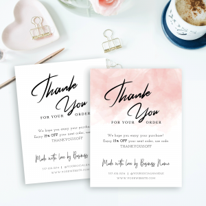 pink watercolor portrait thank you card