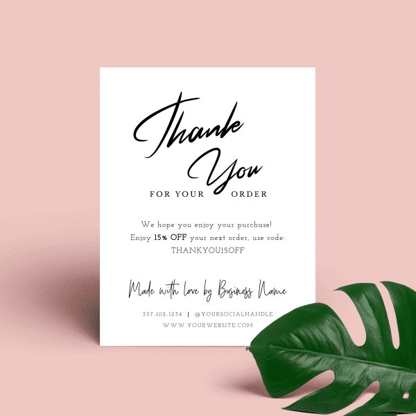 white thank you for order card