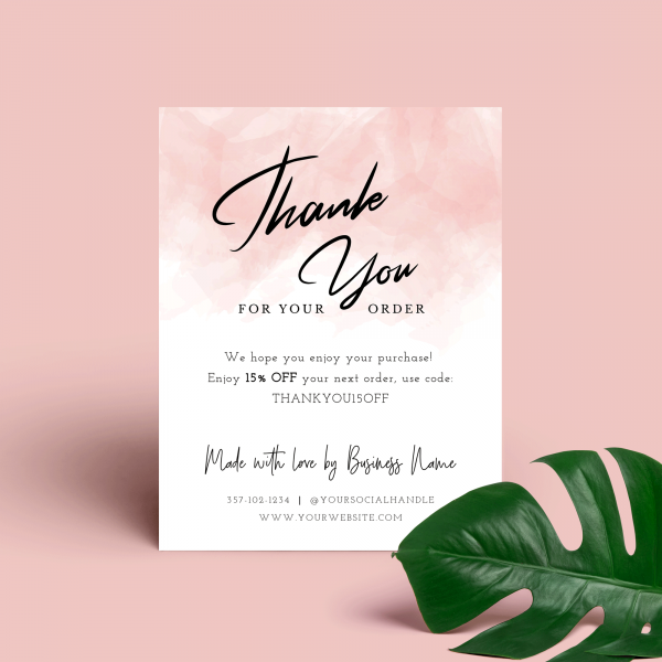 pink thank you for purchase card