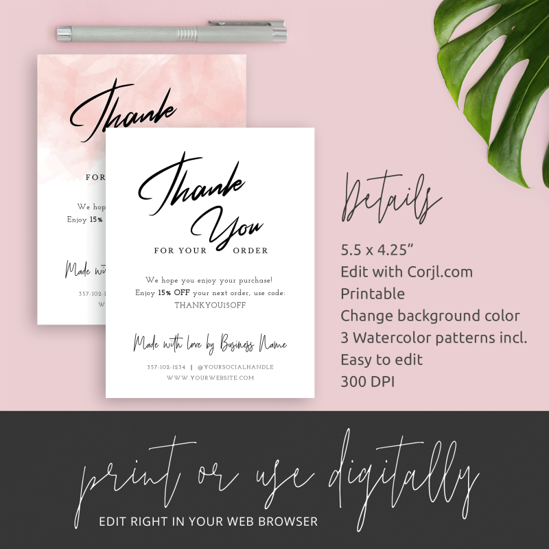 thank you card details