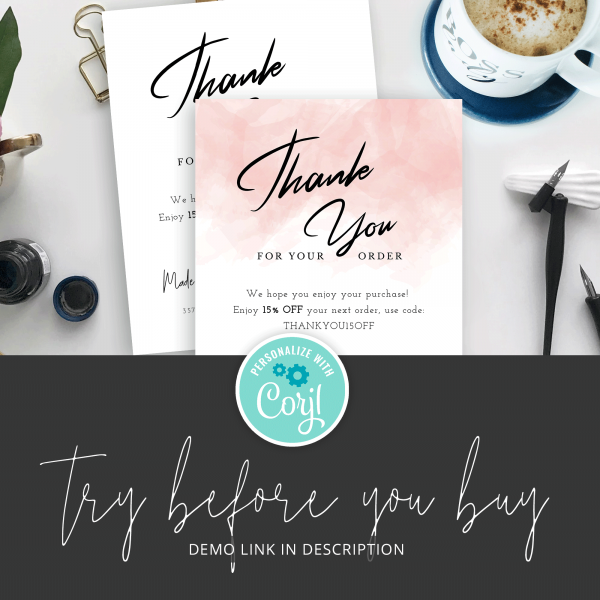 try before you buy thank you card