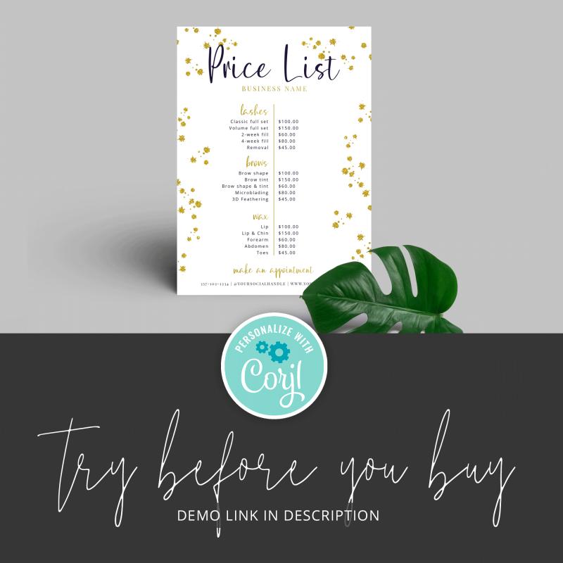 white and glitter price list