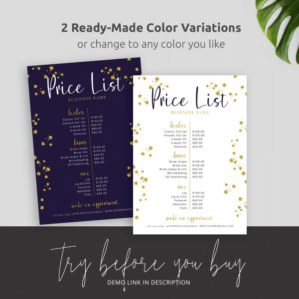 glitter menu design