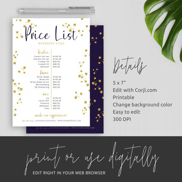 gold glitter price guide template