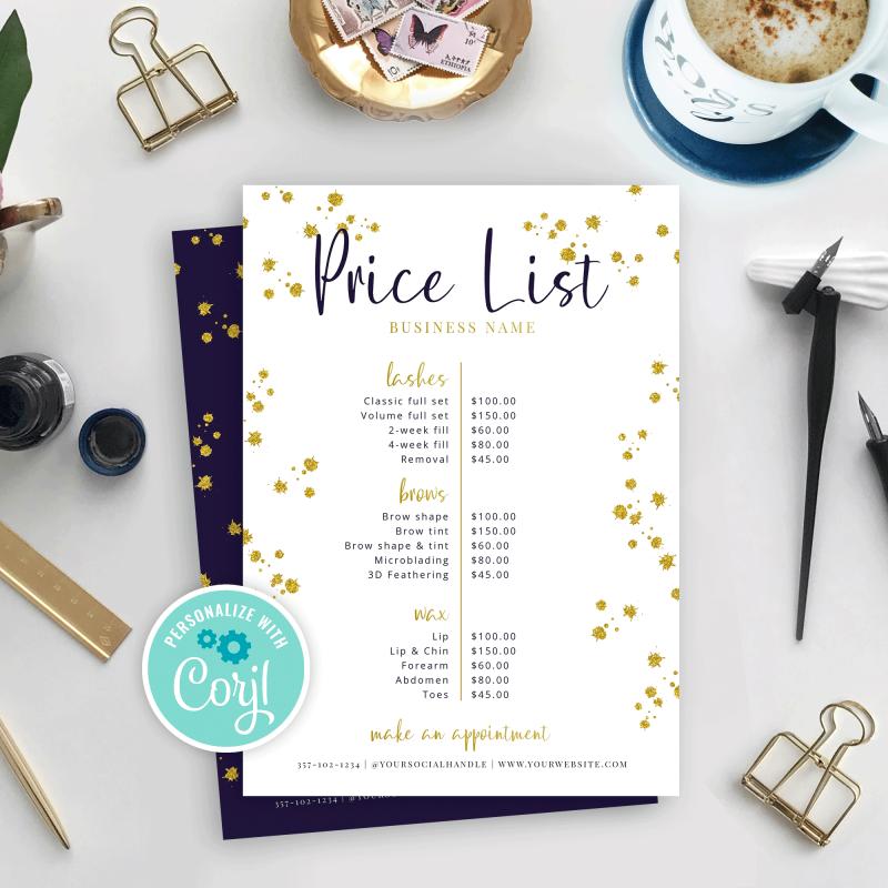editable glitter price sheet