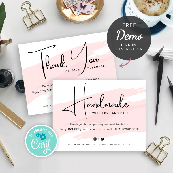 watercolour thank you card template