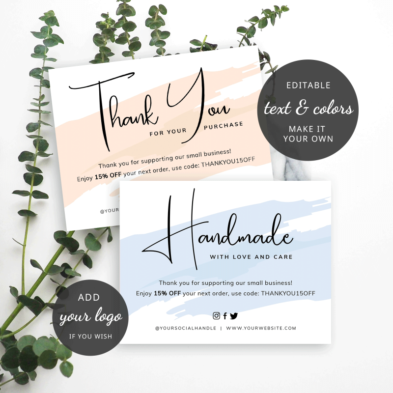 cream and blue thank you cards