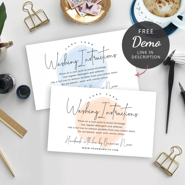 watercolour care instructions card