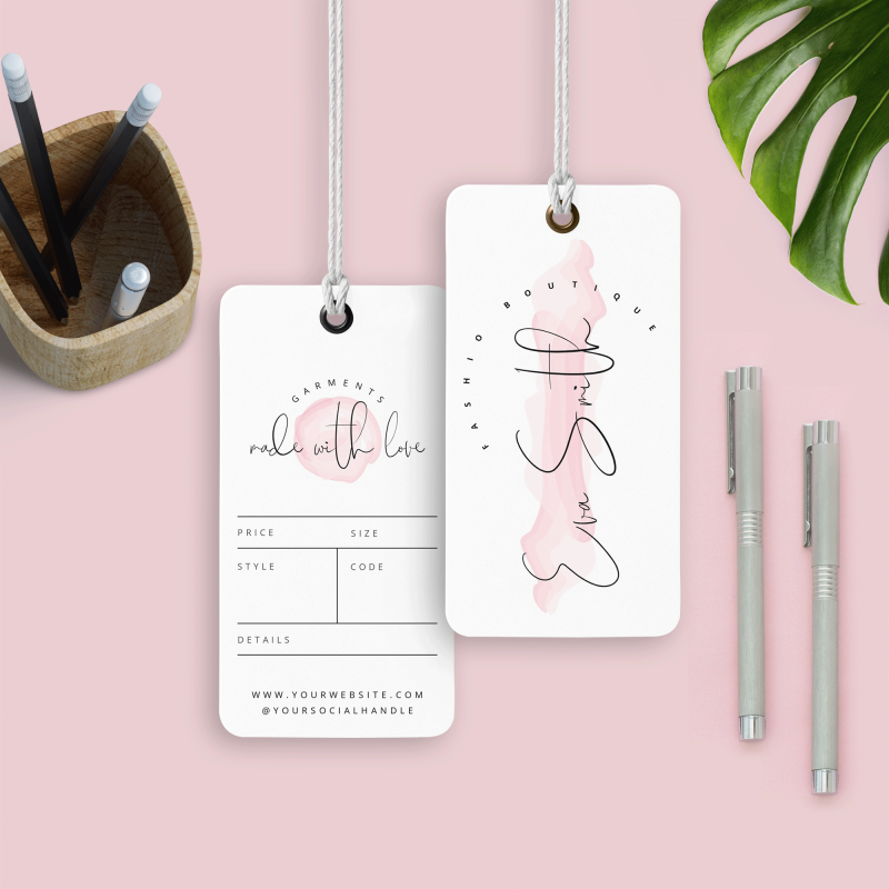 pink watercolour swing tag template