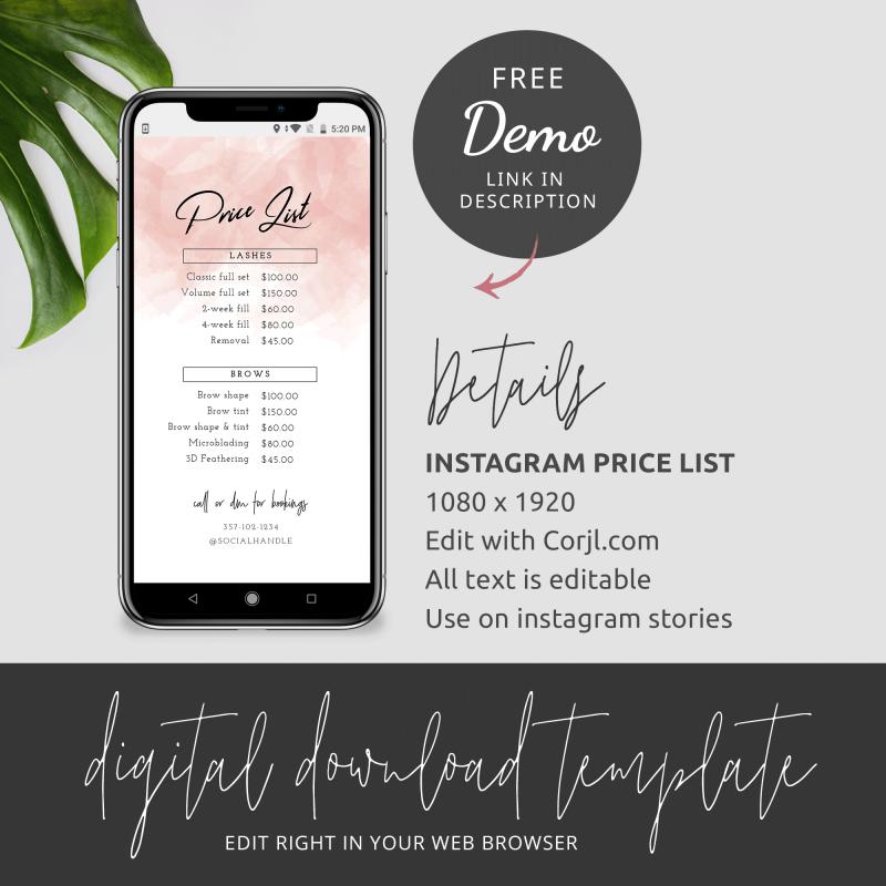 instagram story price list