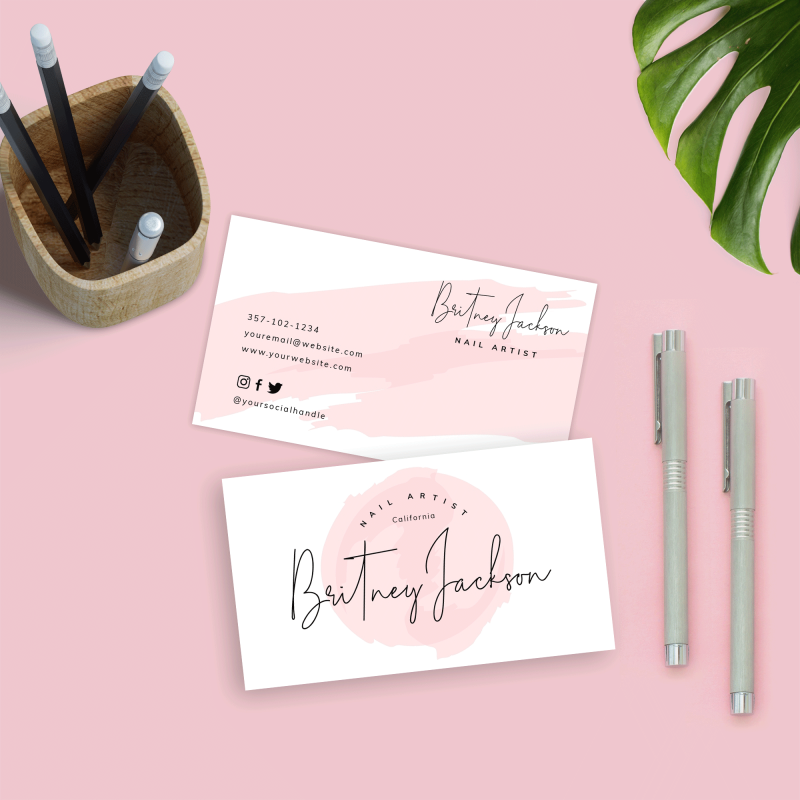 pink watercolour business card template