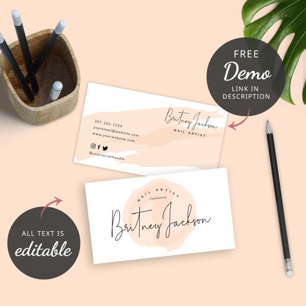editable feminine business cards