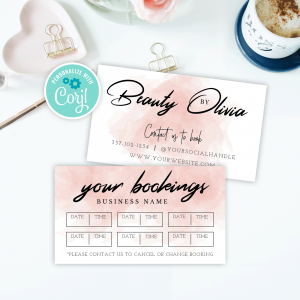 pink watercolour booking reminder card