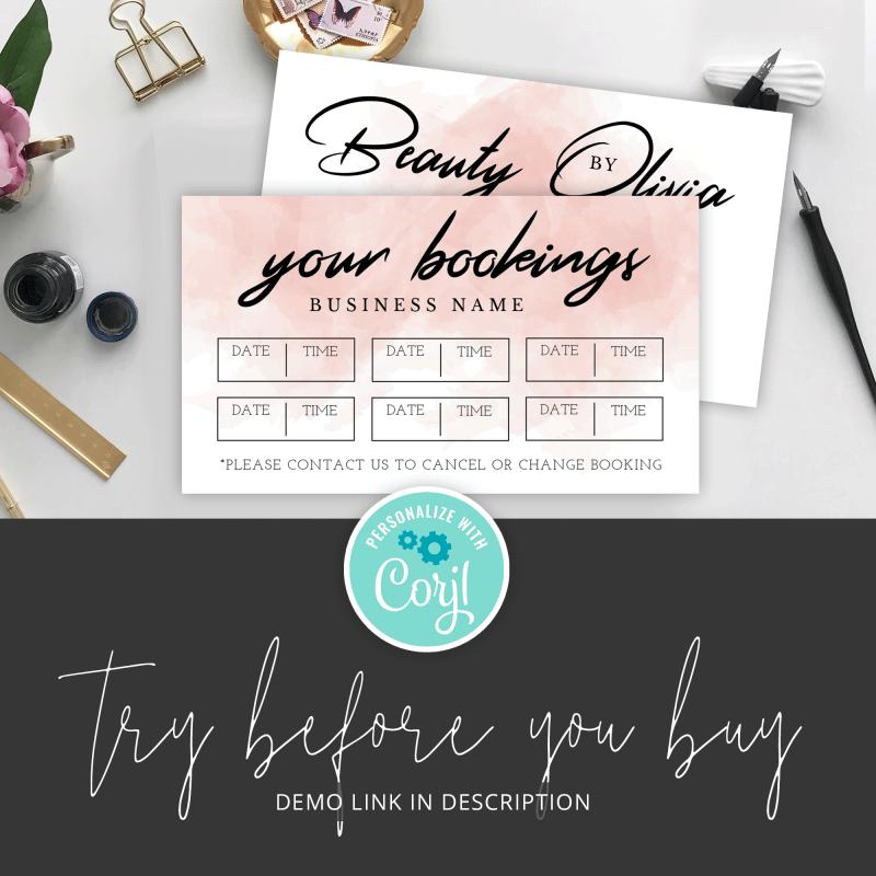 pink watercolour booking reminder card