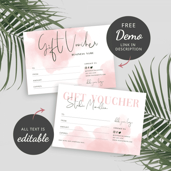 Pink watercolour gift certificate