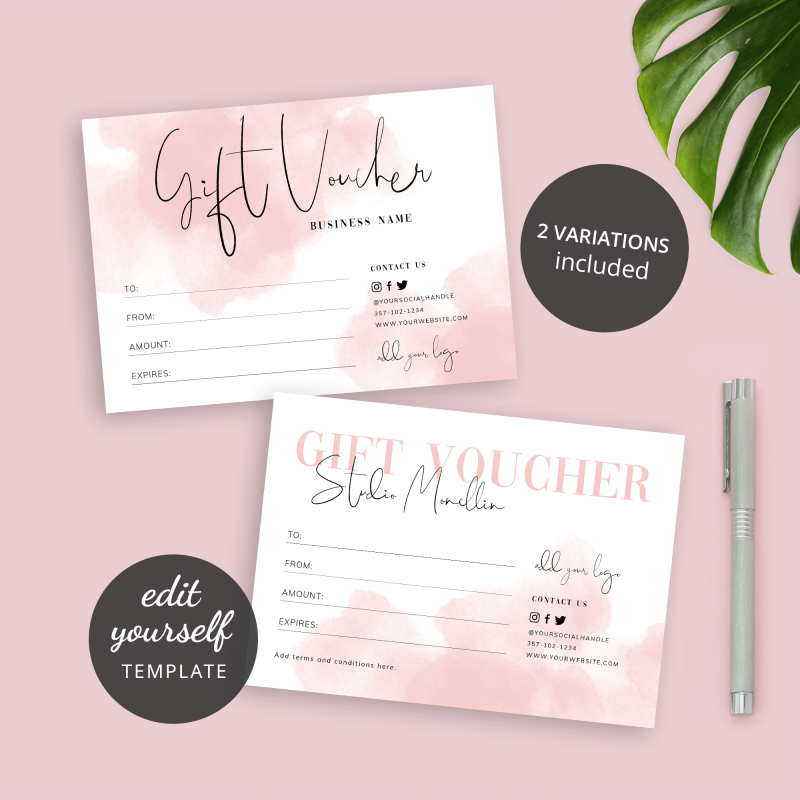paint brush effect gift card template