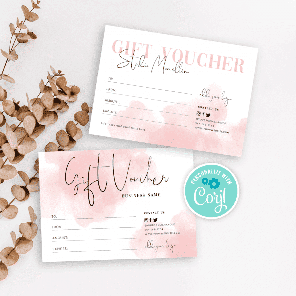 watercolour background gift voucher