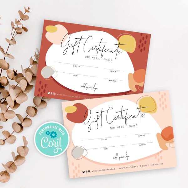 autumnal gift certificate design