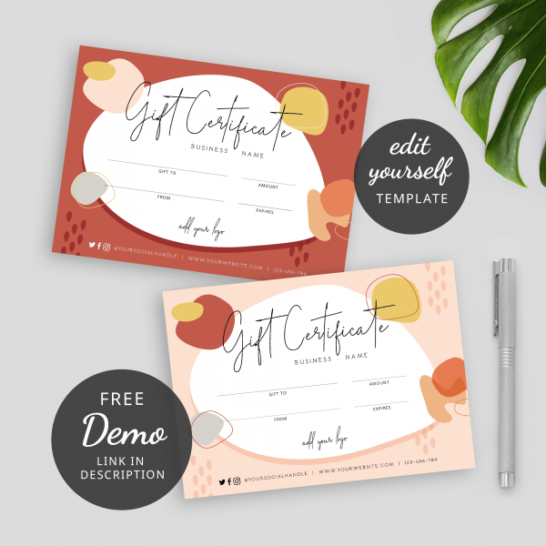 earthy tones gift certificate template