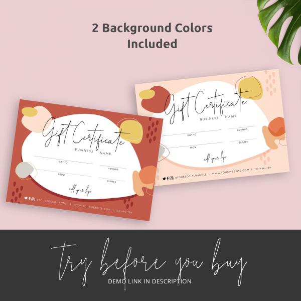 boho gift card template